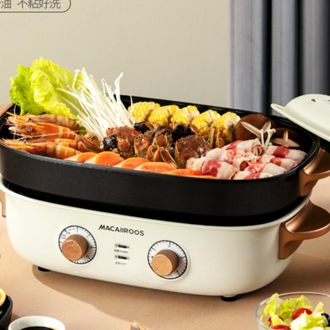 迈卡罗MACAIIROOS 无级旋钮温度控制 烹煮煎烤控制自如多功能烹饪锅