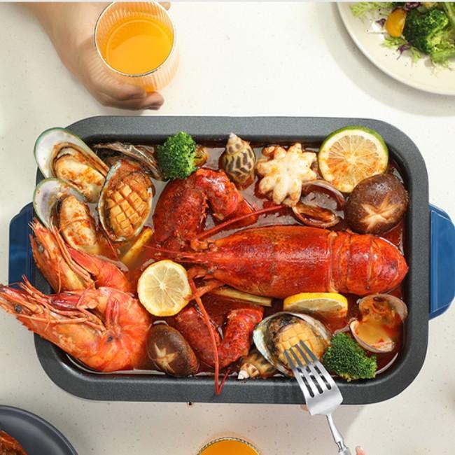 迈卡罗MACAIIROOS 煎烤盘 蒸片自由选择更换多功能电磁烹饪锅