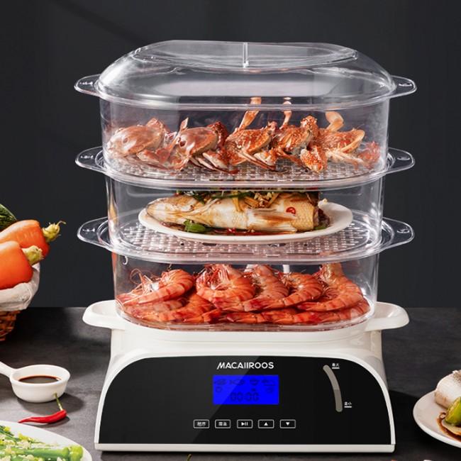 迈卡罗MACAIIROOS 全透明蒸箱 预设3层蒸格 烹饪全程可视化电蒸笼