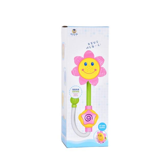 马博士 喷水向日葵 按五角星打压一会的花朵上的喷头便会喷出水出来 吸引 宝宝的注意