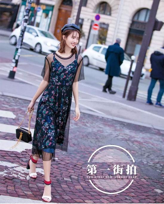 迪卡轩 金晨巴黎街拍打造轻松随性的时尚造型