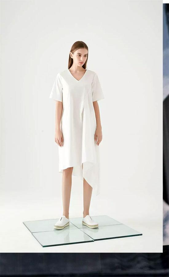 VISVIOCO唯弋品牌女装隐藏的白色连衣裙