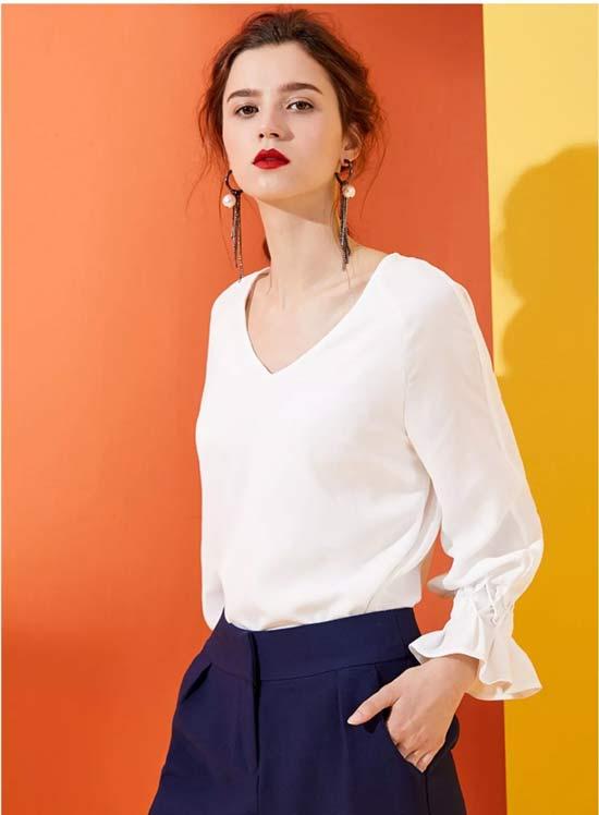 Theme品牌女装夏季时髦单品白衬衫