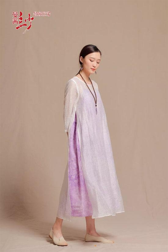 曼茜纱女装丁香紫 2018秋装新品上市