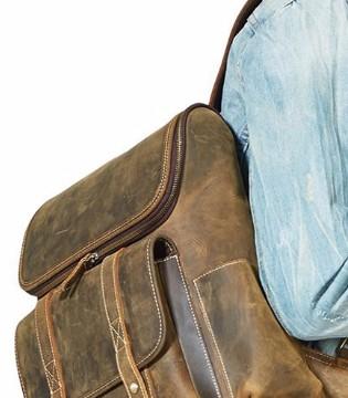 男性理想的双肩包 新款秋冬马皮革双肩包