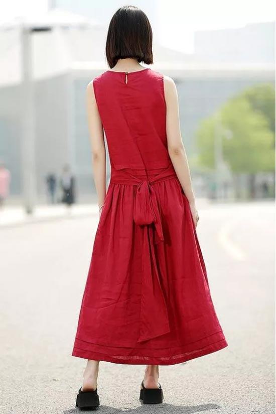 新申时髦亚麻红裙 HOLD得住气场 去得了年会