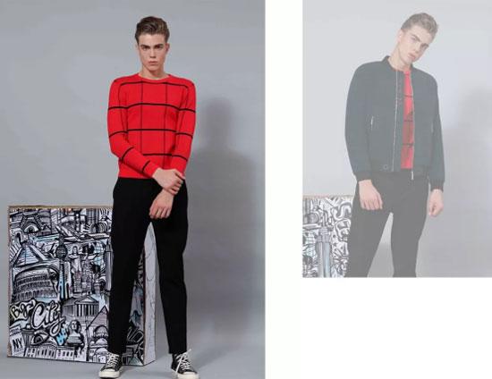 时尚莎斯莱思型男红色穿搭示范 穿出暖男气质!