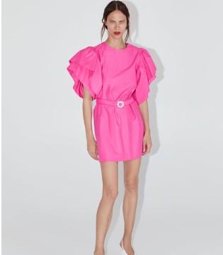 Zara服装品牌 紫红色泡泡袖连衣裙新品上市!