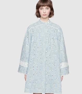 Gucci意大利时装品牌 GG刺绣蕾丝牛仔连衣裙新款上市