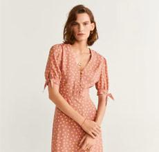 Mango芒果服装品牌火爆夏日的圆点花边连衣裙新款上市