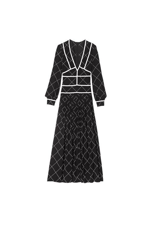 longchamp珑骧奢饰品品牌 成衣系列黑白色连衣裙