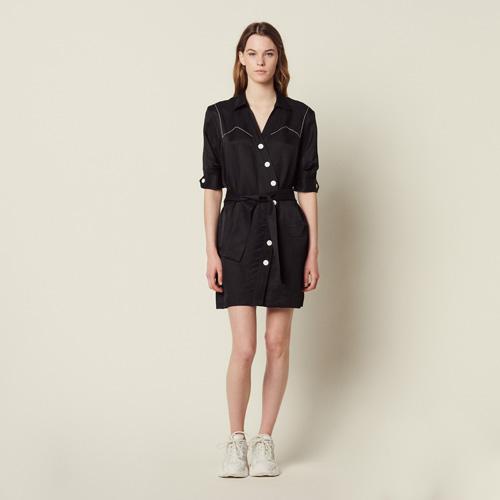 Sandro奢侈品牌新款上市的不对称V领连衣裙 优雅至极