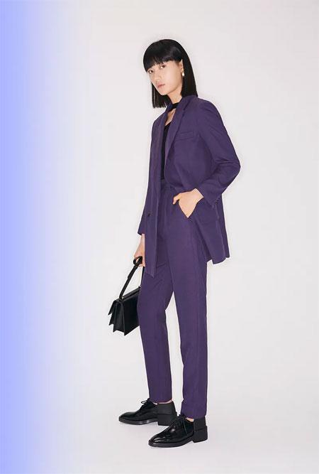 LILY商务时装:春日新色穿上身 午夜紫与军装绿