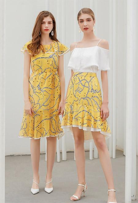 艾丽哲淡黄色长裙 夏天时尚加倍!
