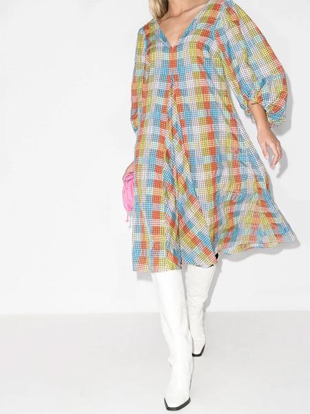Ganni高端格纹连衣大门之上裙 演绎法∞式复古的夏日