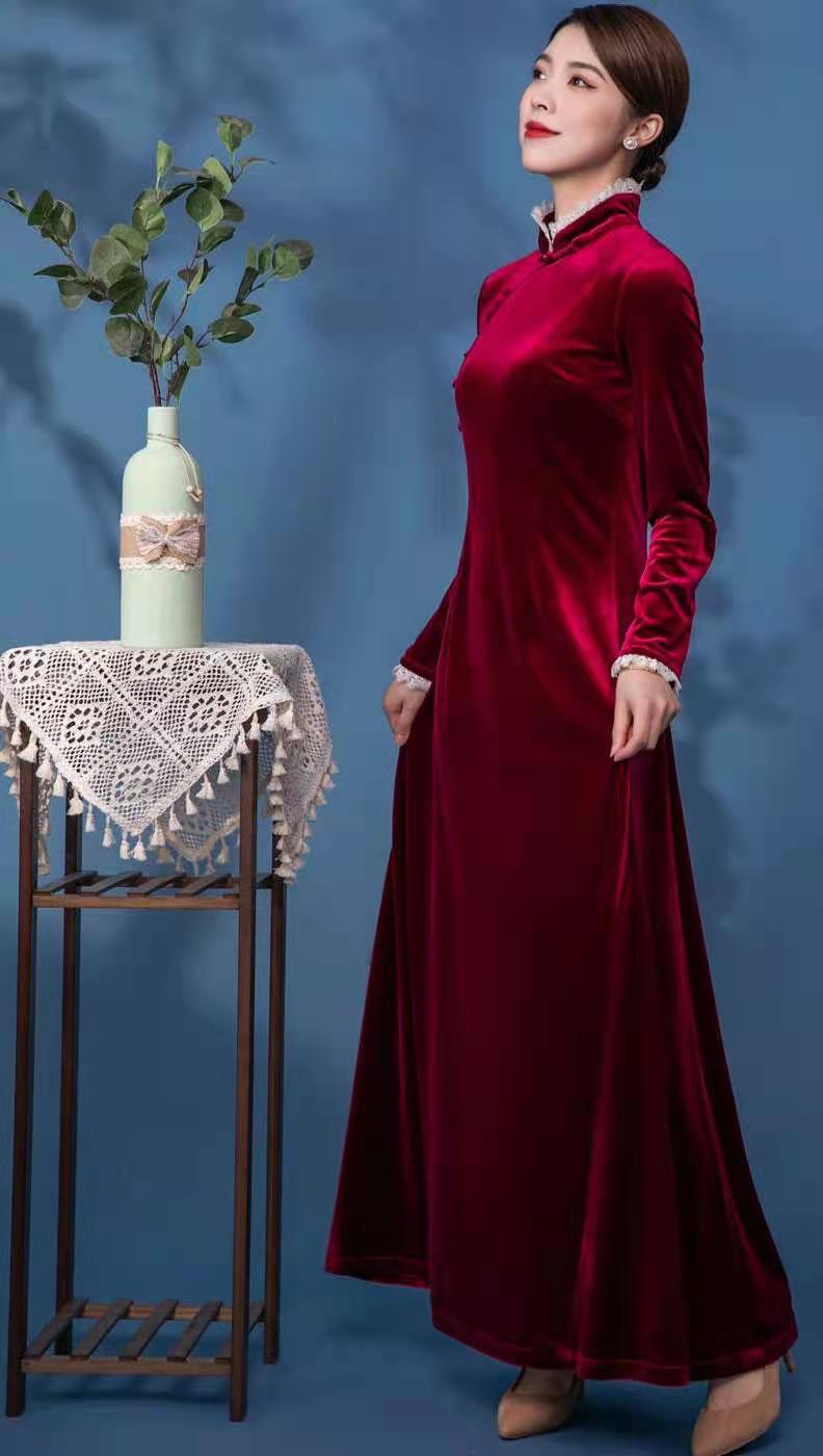莱素金丝绒旗袍 展示优雅的东方美!