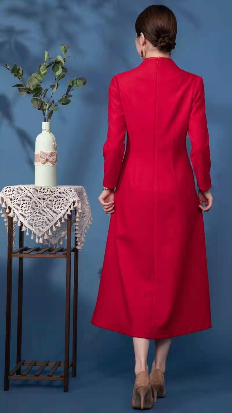 莱素旗袍――红阁 红色长袖秋冬款旗袍裙