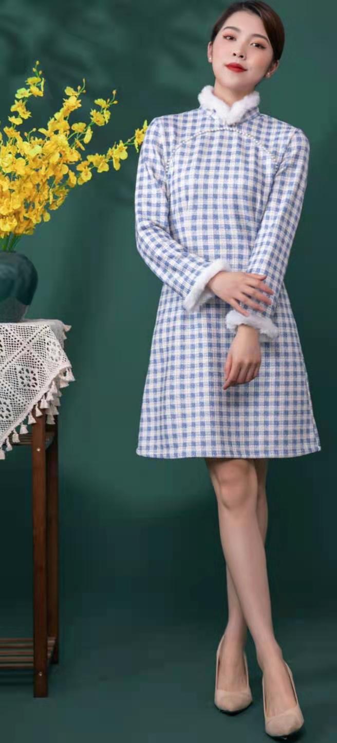 莱素旗袍――沐灵 年轻款长袖秋冬加厚旗袍连衣裙