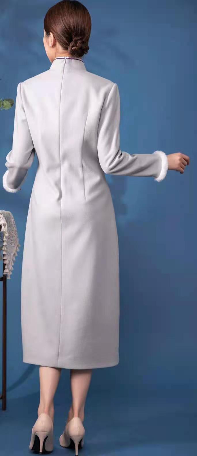 莱素旗袍――青禾,秋冬改良版毛呢旗袍裙
