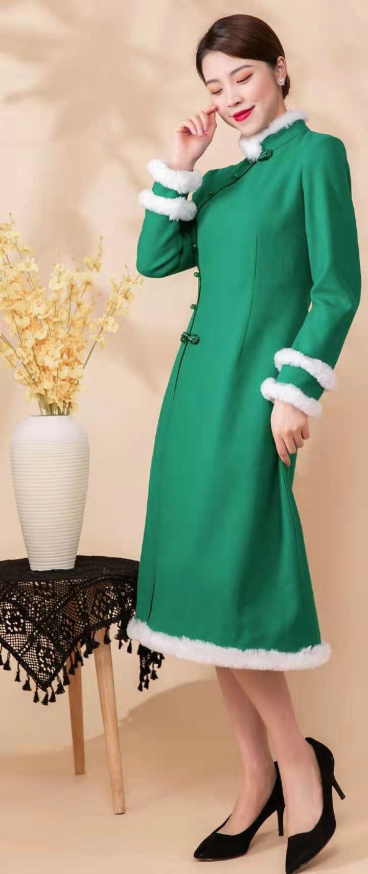莱素旗袍——锦音 清新淡雅毛呢旗袍裙