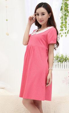 孕妇装夏款短袖波点孕妇连衣裙