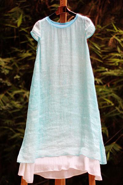 海蓝森女系列真丝边蚕丝麻连衣裙长裙