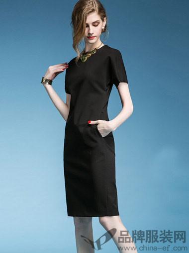 阿珍妮AJENI女装欧式简约打底短袖连衣裙