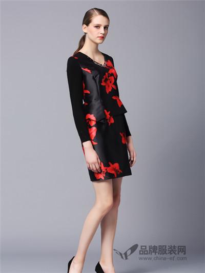 画而诗冬季新款时尚印花连衣裙