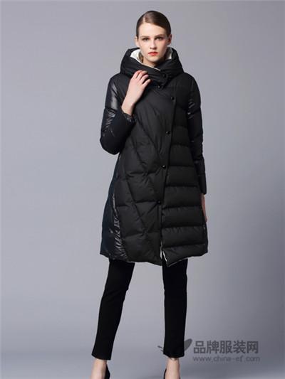 画而诗冬季黑色时尚长款羽绒服