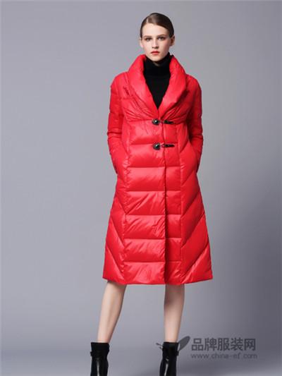 画而诗冬季时尚红色羽绒服新款