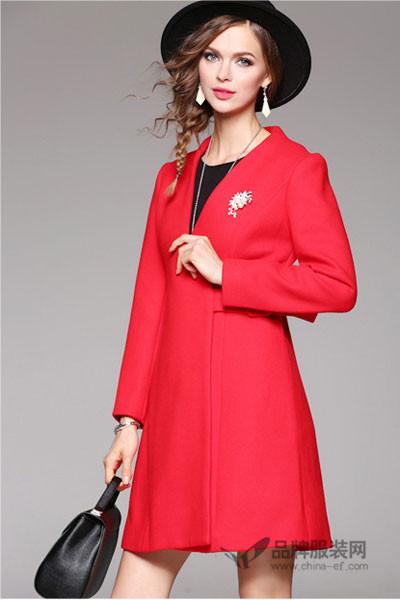 米女文女装2016秋冬 欧美时尚系带修身羊毛尼外套