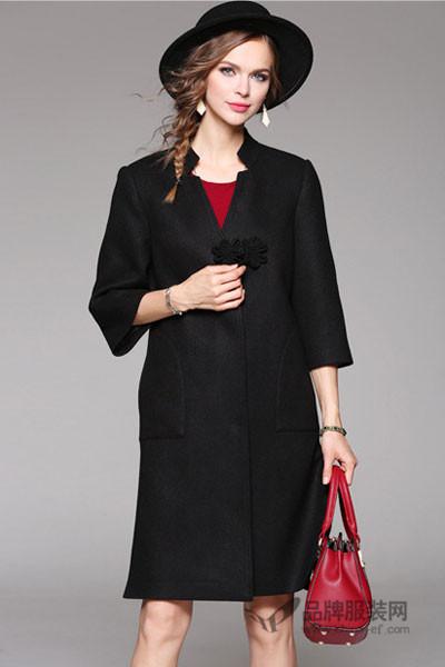 米女文女装2016秋冬 黑色风衣女中长款大衣外套
