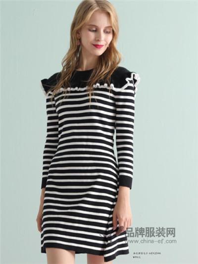 ABUN秋季时尚条纹长款连衣裙