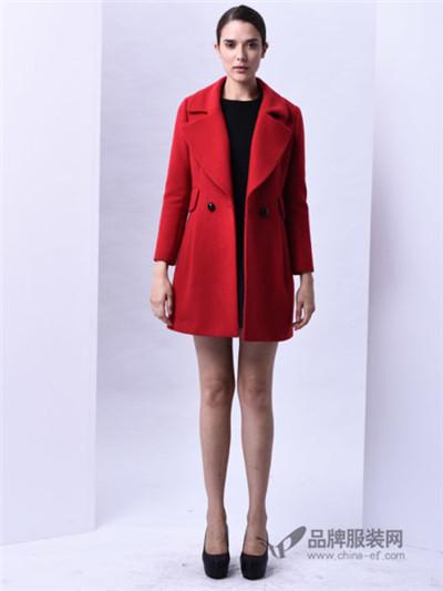 sumsilk夏丝女装红色翻领呢大衣
