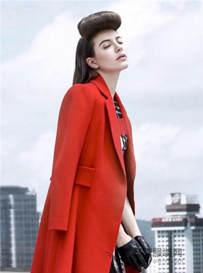 力思菲尔女装2016秋冬 红色长款外套