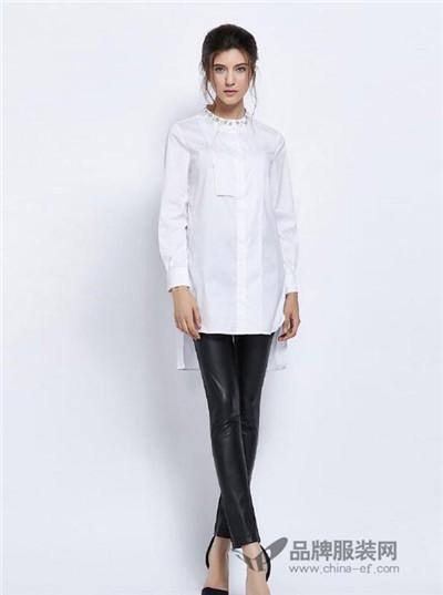 力思菲尔女装2016秋冬  长款白色衬衫