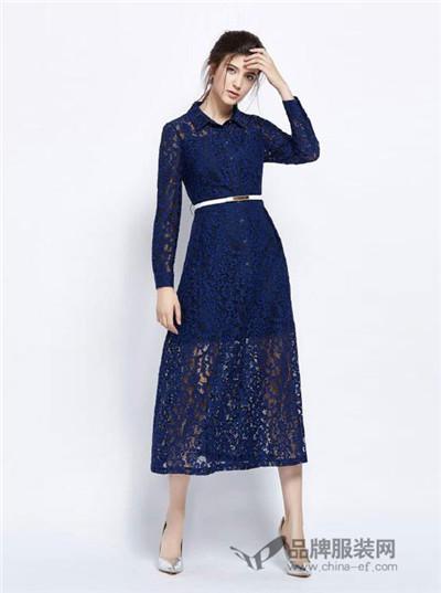 力思菲尔女装2016秋冬 深蓝色蕾丝连衣裙