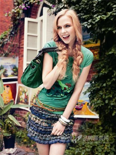 伊比莎女装绿色短袖