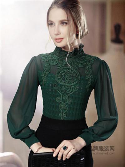 三叁星女装墨绿色高领雪纺上衣