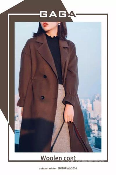 尕尕女装2016秋冬 褐色欧美长款大衣