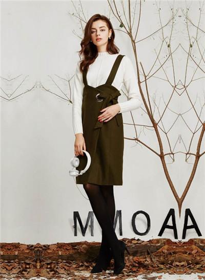 欧莫女装2016秋冬新品 背带连衣裙