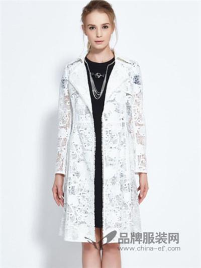 葛来娣2016秋冬新品白色蕾丝长外套