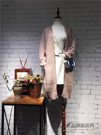 Qstyle女装2016秋冬新品 粉色长款毛衣外套