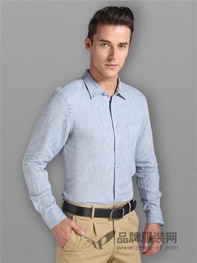 金莎伦男士纯色棉衬衫