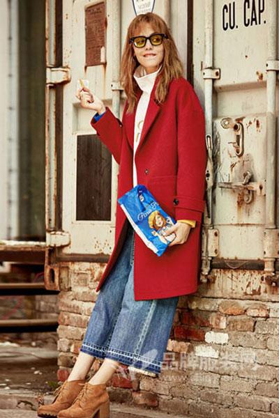 玛蒂丽尔女装2016秋冬红色长款外套