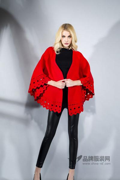 富天女装2016秋冬红色蝙蝠宽松外套