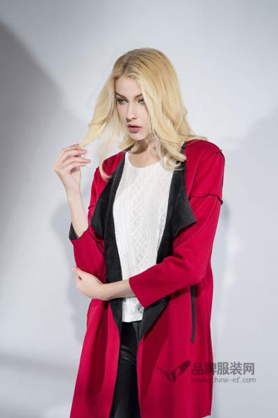 富天女装2016秋冬红色长款外套