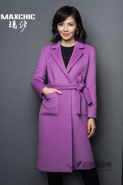 玛汐女装2016秋冬紫色长款外套