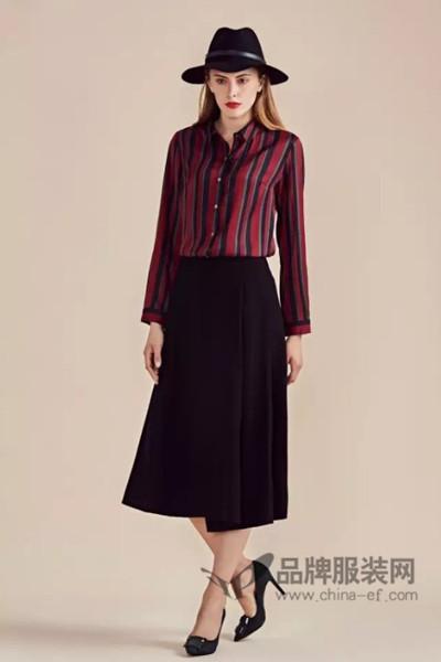 缇丝丹女装2016秋冬红黑条纹衬衫