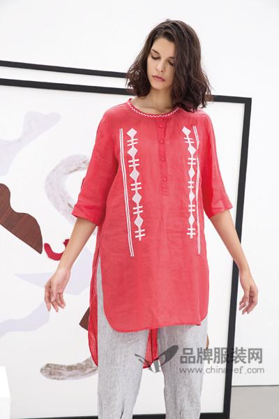 水淼SHUIMIAO女装2017春季红色棉麻上衣